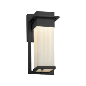 Porcelina - Pacific Matte Black 12-Inch LED Outdoor Wall Sconce with Off-White Waterfall Faux Porcelain Resin
