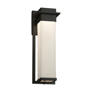 Porcelina - Pacific Matte Black 17-Inch LED Outdoor Wall Sconce with Off-White Sawtooth Faux Porcelain Resin