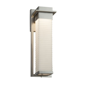 Porcelina - Pacific Brushed Nickel 17-Inch LED Outdoor Wall Sconce with Off-White Sawtooth Faux Porcelain Resin