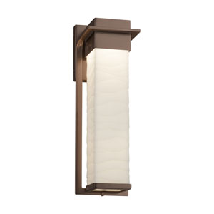 Porcelina - Pacific Dark Bronze 17-Inch LED Outdoor Wall Sconce with Off-White Wavy Faux Porcelain Resin