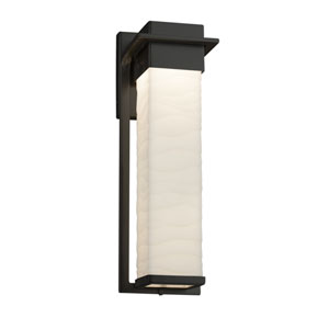 Porcelina - Pacific Matte Black 17-Inch LED Outdoor Wall Sconce with Off-White Wavy Faux Porcelain Resin