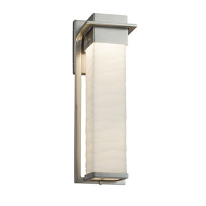 Porcelina - Pacific Brushed Nickel 17-Inch LED Outdoor Wall Sconce with Off-White Wavy Faux Porcelain Resin