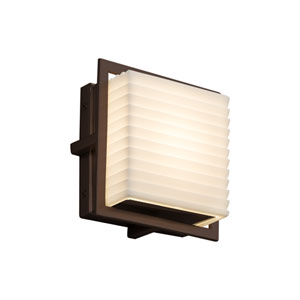 Porcelina - Avalon Dark Bronze Seven-Inch LED Outdoor Wall Sconce with Off-White Sawtooth Faux Porcelain Resin