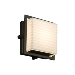 Porcelina - Avalon Matte Black Seven-Inch LED Outdoor Wall Sconce with Off-White Sawtooth Faux Porcelain Resin