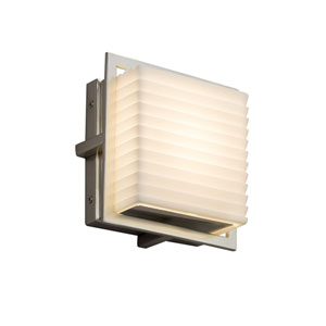 Porcelina - Avalon Brushed Nickel Seven-Inch LED Outdoor Wall Sconce with Off-White Sawtooth Faux Porcelain Resin