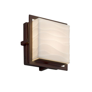Porcelina - Avalon Dark Bronze Seven-Inch LED Outdoor Wall Sconce with Off-White Wavy Faux Porcelain Resin