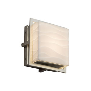 Porcelina - Avalon Brushed Nickel Seven-Inch LED Outdoor Wall Sconce with Off-White Wavy Faux Porcelain Resin