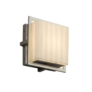 Porcelina - Avalon Brushed Nickel Seven-Inch LED Outdoor Wall Sconce with Off-White Waterfall Faux Porcelain Resin