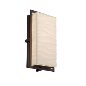 Porcelina - Avalon Dark Bronze 12-Inch LED Outdoor Wall Sconce with Off-White Wavy Faux Porcelain Resin