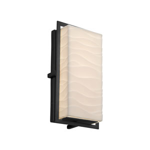 Porcelina - Avalon Matte Black 12-Inch LED Outdoor Wall Sconce with Off-White Wavy Faux Porcelain Resin