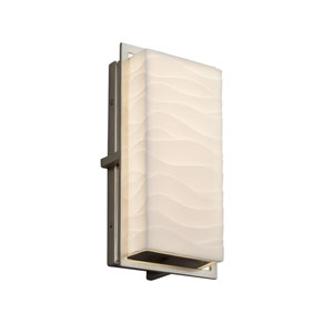 Porcelina - Avalon Brushed Nickel 12-Inch LED Outdoor Wall Sconce with Off-White Wavy Faux Porcelain Resin