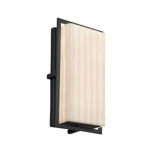Porcelina - Avalon Matte Black 12-Inch LED Outdoor Wall Sconce with Off-White Waterfall Faux Porcelain Resin