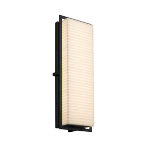 Porcelina - Avalon Matte Black 18-Inch LED Outdoor Wall Sconce with Off-White Sawtooth Faux Porcelain Resin