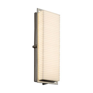 Porcelina - Avalon Brushed Nickel 18-Inch LED Outdoor Wall Sconce with Off-White Sawtooth Faux Porcelain Resin