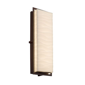 Porcelina - Avalon Dark Bronze 18-Inch LED Outdoor Wall Sconce with Off-White Wavy Faux Porcelain Resin