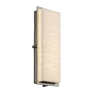 Porcelina - Avalon Brushed Nickel 18-Inch LED Outdoor Wall Sconce with Off-White Wavy Faux Porcelain Resin