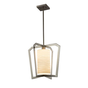 Porcelina - Aria Brushed Nickel LED Pendant with Off-White Wavy Faux Porcelain Resin
