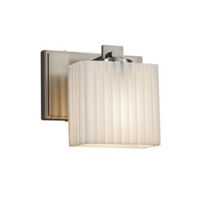 Porcelina - Era Brushed Nickel LED Wall Sconce with Off-White Pleated Faux Porcelain Resin
