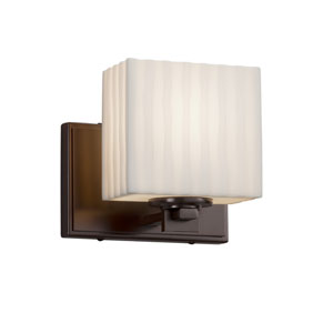 Porcelina - Era Dark Bronze LED Wall Sconce with Off-White Faux Porcelain Resin