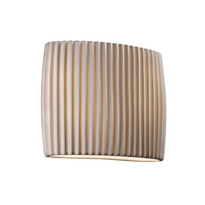 Porcelina Faux Porcelain Resin Two-Light Wide Oval Wall Sconce with Pleats Shade