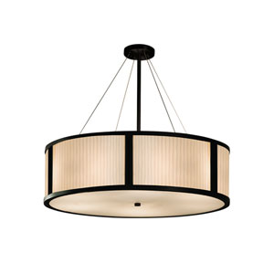 Porcelina - Tribeca Matte Black LED Drum Pendant with Off-White Waterfall Faux Porcelain Resin