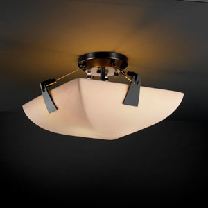 Porcelina Tapered Clips 14-Inch Two-Light Matte Black Semi-Flush Bowl With Tapered Clips