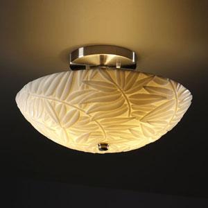 Porcelina Semi-Flush 14-Inch Two-Light Brushed Nickel Round Semi-Flush Bowl