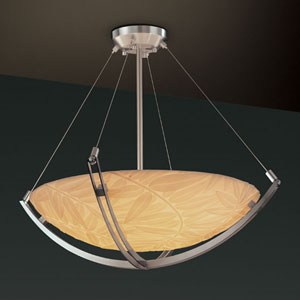 Porcelina Crossbar CrossbarThree-Light Dark Bronze Pendant Bowl With Crossbar
