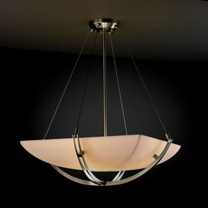 Porcelina Crossbar Crossbar Six-Light Brushed Nickel Pendant Bowl With Crossbar