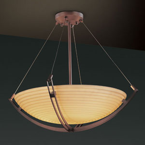 Porcelina Crossbar CrossbarSix-Light Dark Bronze Pendant Bowl With Crossbar