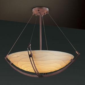 Porcelina Crossbar CrossbarEight-Light Dark Bronze Pendant Bowl With Crossbar