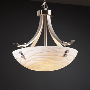 Porcelina Flat Bars with Finials 18-Inch Three-Light Brushed Nickel Pendant Bowl Flat Bars With Finials