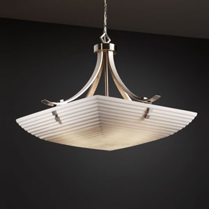 Porcelina Flat Bars with Finials 24-Inch Six-Light Brushed Nickel Pendant Bowl Flat Bars With Finials