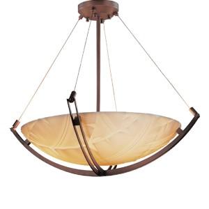 Porcelina Dark Bronze LED 36-Inch Round Bowl Pendant with Crossbar and Banana Leaf Shade