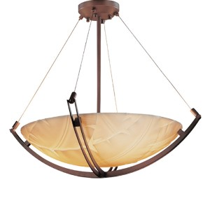 Porcelina Dark Bronze Eight-Light 36-Inch Round Bowl Pendant with Crossbar and Banana Leaf Shade