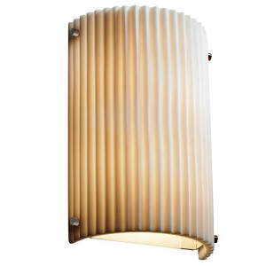 Porcelina Brushed Nickel Two-Light Cylindrical Finial Wall Sconce with Pleats Shade