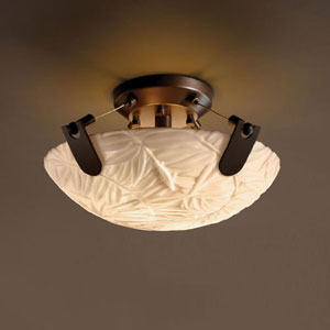 Porcelina U-Clips 14-Inch Two-Light Dark Bronze 2000 Lumen LED Semi-Flush Mount With U-Clips