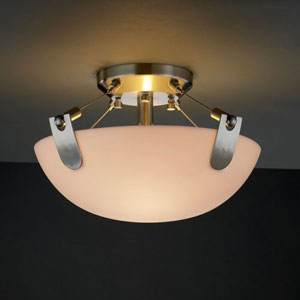Porcelina U-Clips 14-Inch Two-Light Brushed Nickel 2000 Lumen LED Semi-Flush Mount With U-Clips