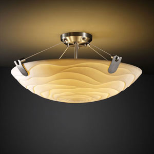 Porcelina U-Clips 18-Inch Three-Light Brushed Nickel 3000 Lumen LED Semi-Flush Mount With U-Clips