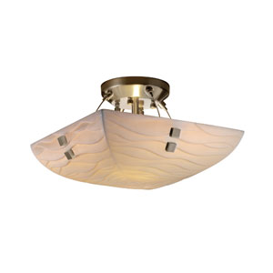 Porcelinaickel 14-Inch Wide LED Square Semi-Flush Bowl with Pair of Square Finials and Waves Shade