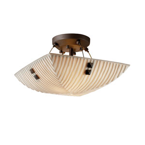 Porcelinaze 14-Inch Wide LED Square Semi-Flush Bowl with Small Square Point Finials and Waterfall Shade