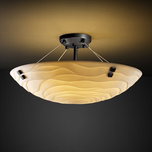 Porcelinaickel 18-Inch Wide LED Round Semi-Flush Bowl with Pair of Square Finials and Waves Shade