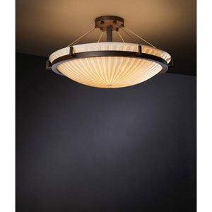 Porcelina Dark Bronze Waterfall Twenty-Four-Inch 5000 Lumen LED Semi-Flush Mount