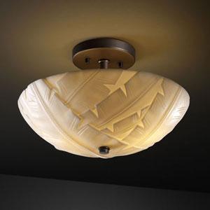 Porcelina Semi-Flush 14-Inch Two-Light Polished Chrome Round 2000 Lumen LED Semi-Flush Mount