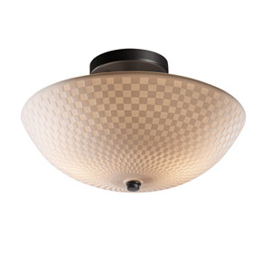 Porcelina Matte Black Two-Light 14-Inch Wide Round Semi-Flush Bowl with Checkerboard Shade