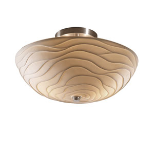 Porcelina Brushed Nickel 14-Inch Wide LED Round Semi-Flush Bowl with Waves Shade