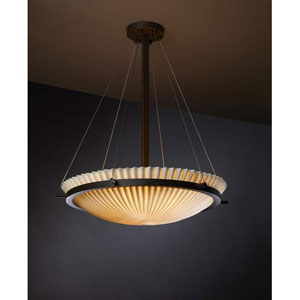 Porcelina Dark Bronze Pleated 5000 Lumen LED Bowl Pendant
