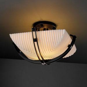 Porcelina Crossbar Two-Light Matte Black 2000 Lumen LED Semi-Flush Mount With Crossbar