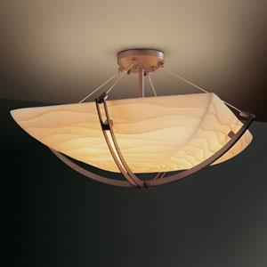 Porcelina Crossbar Six-Light Dark Bronze 5000 Lumen LED Semi-Flush Mount With Crossbar