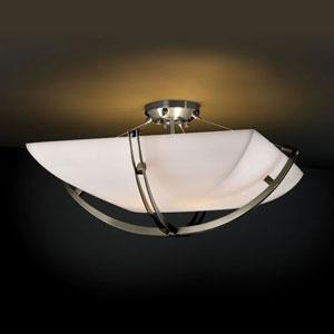Porcelina Crossbar Six-Light Brushed Nickel 5000 Lumen LED Semi-Flush Mount With Crossbar